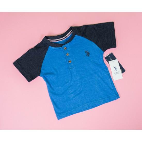 Henley Neck Kids T-shirt Blue
