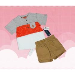 Henley Neck Kids T-shirt Coral