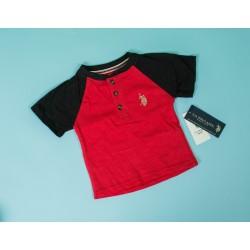 Henley Neck Kids T-shirt Red