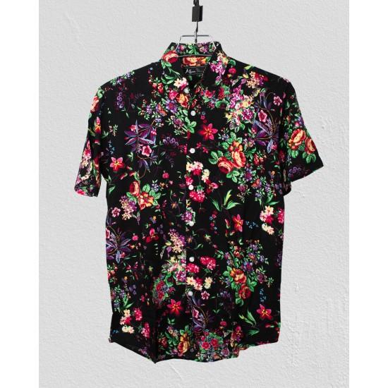Linen Half Shirt - Black
