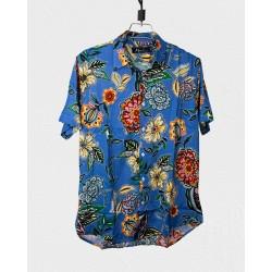 Linen Half Shirt - Blue