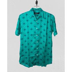 Linen Half Shirt - Sky