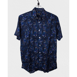 Linen Half Shirt -  Navy Blue