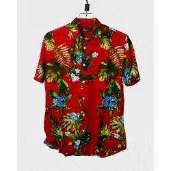 Linen Half Shirt - Red