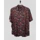 Linen Half Shirt - Black & Red